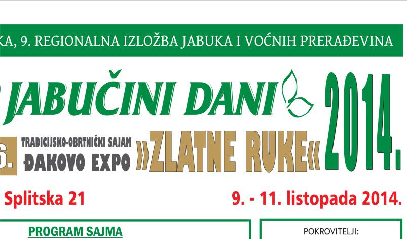13. JABUČINI DANI – ĐAKOVO EXPO – ZLATNE RUKE 2014.